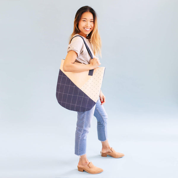 Hand Stitched Slate Canvas Tote | Anchal Project