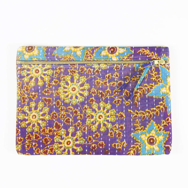 Small Kantha Pouch - Gold Vines