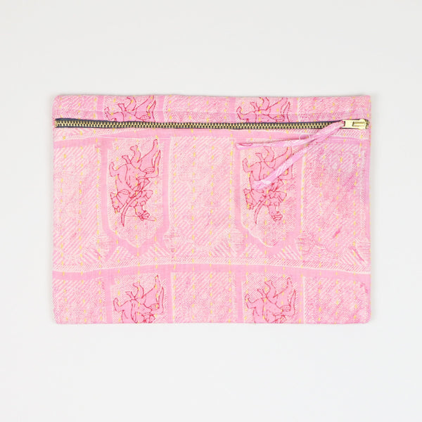 Small Kantha Pouch - Pink Horses | Anchal Project