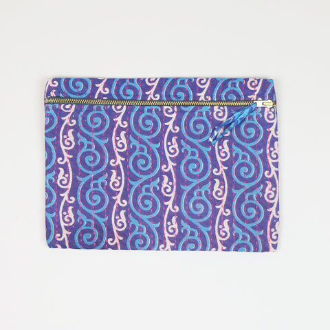 Small Kantha Pouch - Purple Swirls | Anchal Project