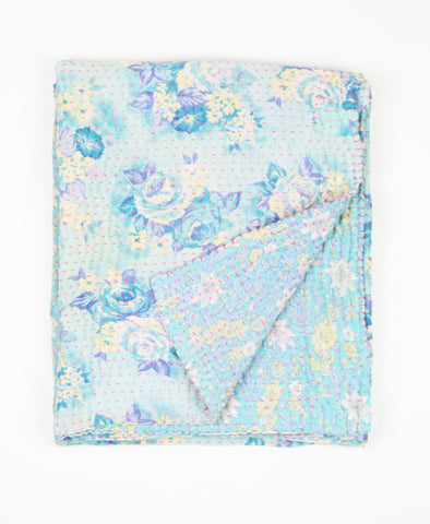 Small Kantha Quilt - Aqua Roses | Anchal Project