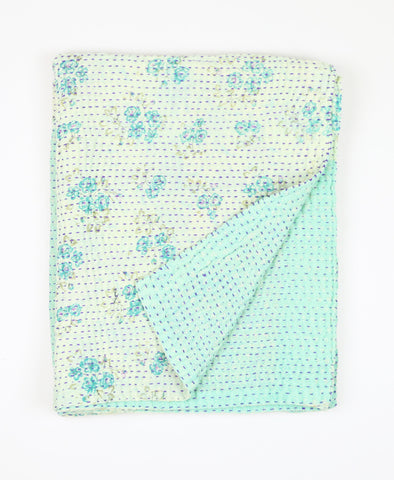 Small Kantha Quilt - Aqua Lilly | Anchal Project