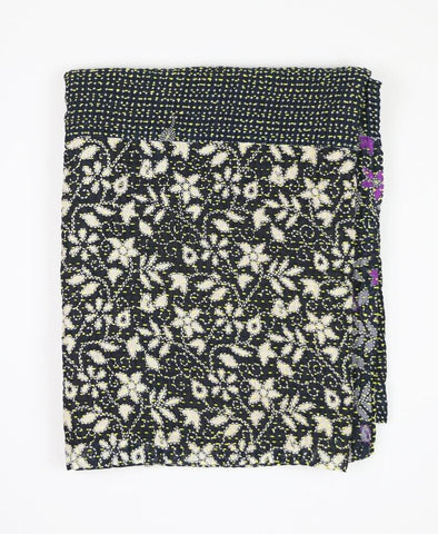 Small Kantha Quilt - Black Floral | Anchal Project