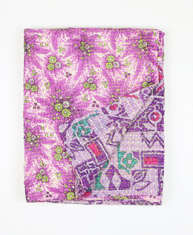 Small Kantha Throw - Fuchsia Aztec | Anchal Project
