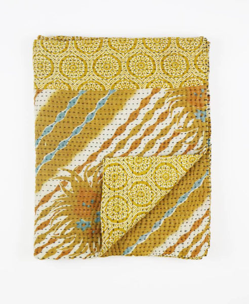 Small Kantha Throw - Gold Tile | Anchal Project