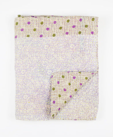 Small Kantha Throw - Green and Purple Dots | Anchal Project