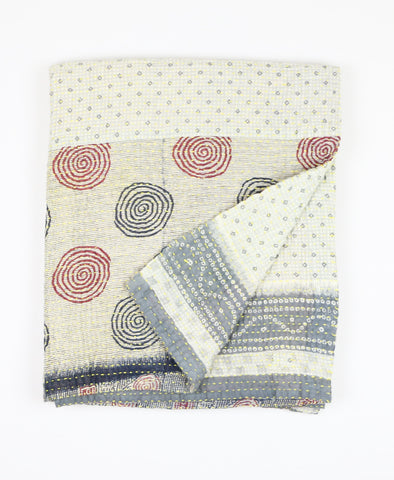Small Kantha Quilt - Ivory Swirls | Anchal Project