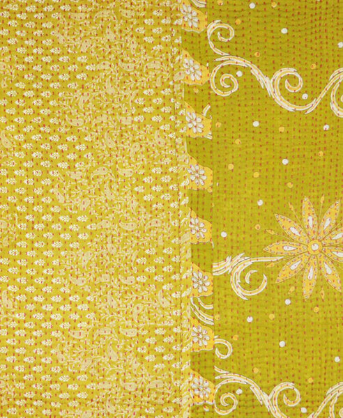 Small Kantha Throw - Lime Green Floral | Anchal Project