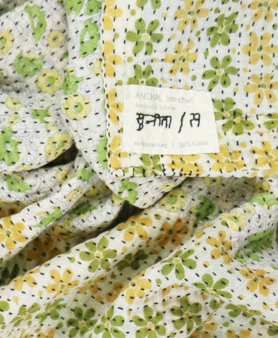 Small Kantha Throw - Retro Green and Yellow Flowers | Anchal Project