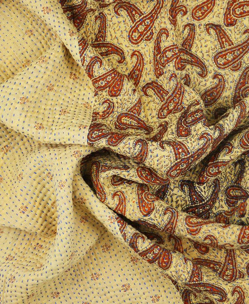 Small Kantha Throw - Rust Paisley | Anchal Project