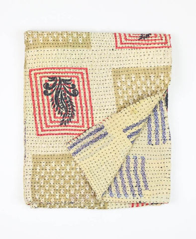 Small Kantha Quilt - Tan Boxes | Anchal Project
