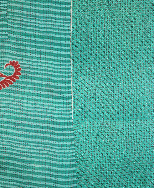 Small Kantha Throw - Teal and Red Paisley | Anchal Project