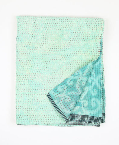 Small Kantha Quilt - Teal Swirls | Anchal Project