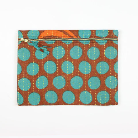 Small Kantha Pouch - Aqua Dots | Anchal Project