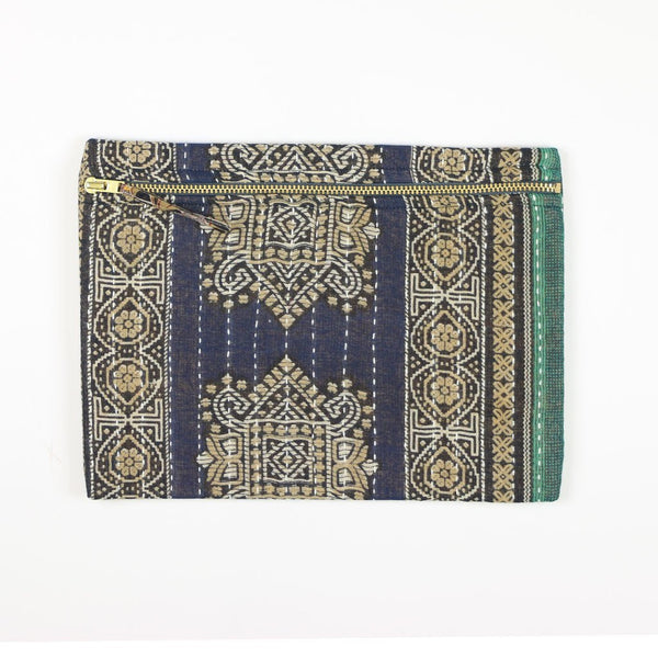 Small Kantha Pouch - Navy Medallion | Anchal Project