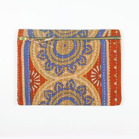 Small Kantha Pouch - Periwinkle Ornament | Anchal Project