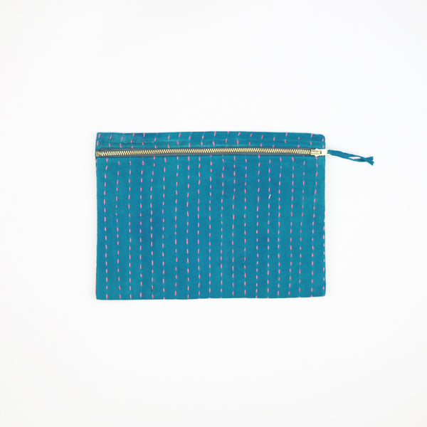 Teal Overdyed Hand-Stitched Pouch