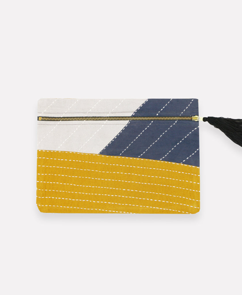 Handmade tricolored pouch made with eco-friendly organic cotton fabric