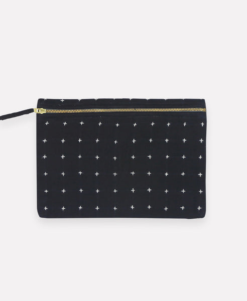 Small Cross-Stitch Black Pouch