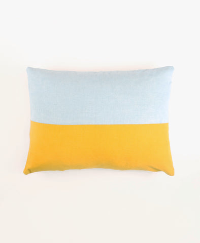 Small Color Block Toss Pillow - Indigo and Marigold | Anchal Project