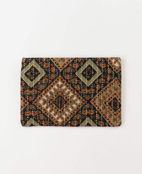 Small Kantha Pouch - Amber Diamonds | Anchal Project