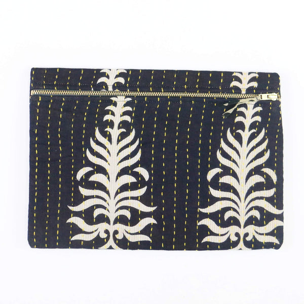 Small Kantha Pouch - Black Palm Leaf | Anchal Project
