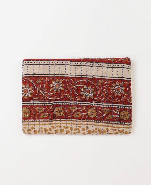 Small Kantha Pouch - Brick Vines | Anchal Project