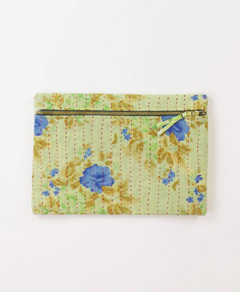 Small Kantha Pouch - Buttermilk Floral | Anchal Project