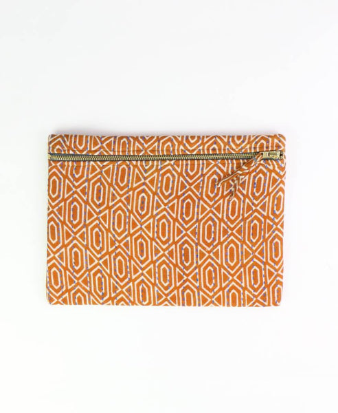 Small Kantha Pouch - Camel Geometric | Anchal Project