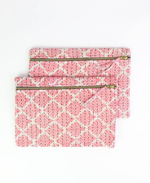 Small Kantha Pouch - Coral Frond | Anchal Project