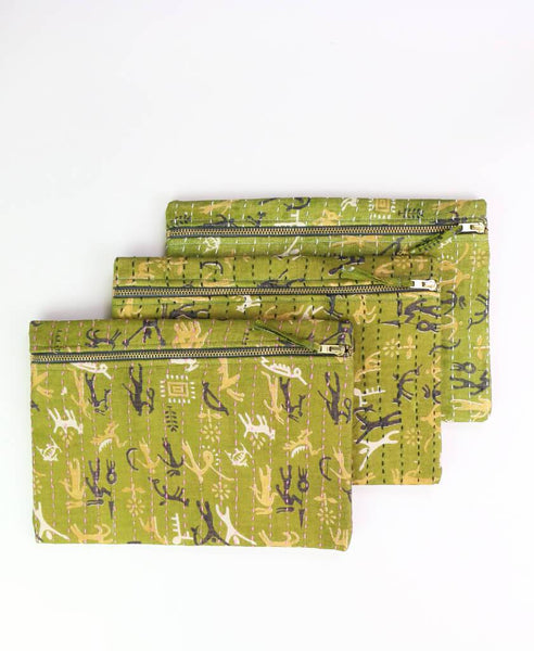 Small Kantha Pouch - Fern Abstract | Anchal Project