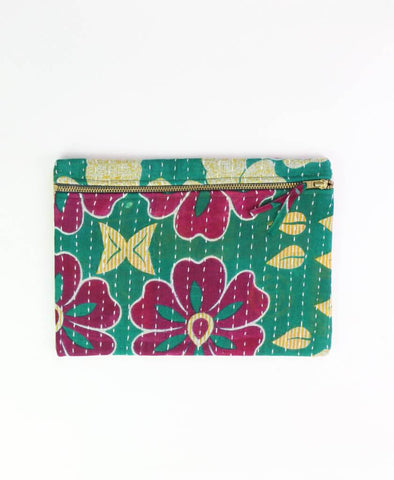 Small Kantha Pouch - Fuchsia Flowers | Anchal Project