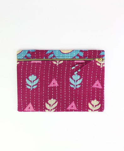 Small Kantha Pouch - Fuchsia Tulips | Anchal Project