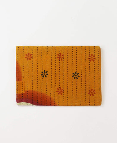 Small Kantha Pouch - Golden Daisies | Anchal Project