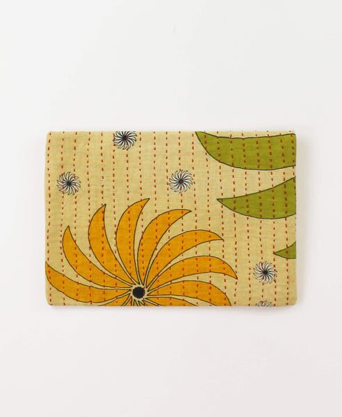 Small Kantha Pouch - Golden Pinwheel | Anchal Project