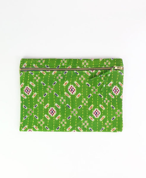 Small Kantha Pouch - Green Geometric | Anchal Project