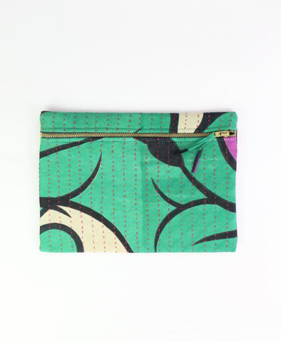 Small Kantha Pouch - Green Vines | Anchal Project