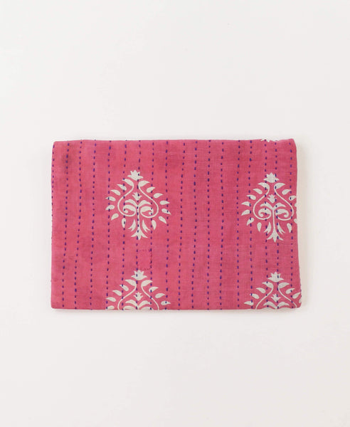 Small Kantha Pouch - Hot Pink Medallion | Anchal Project