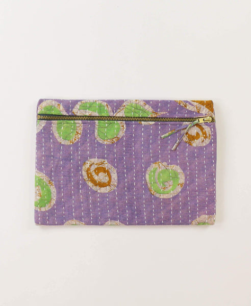 Small Kantha Pouch - Lavender Dots | Anchal Project