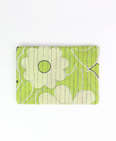 Small Kantha Pouch - Lime Daisy | Anchal Project
