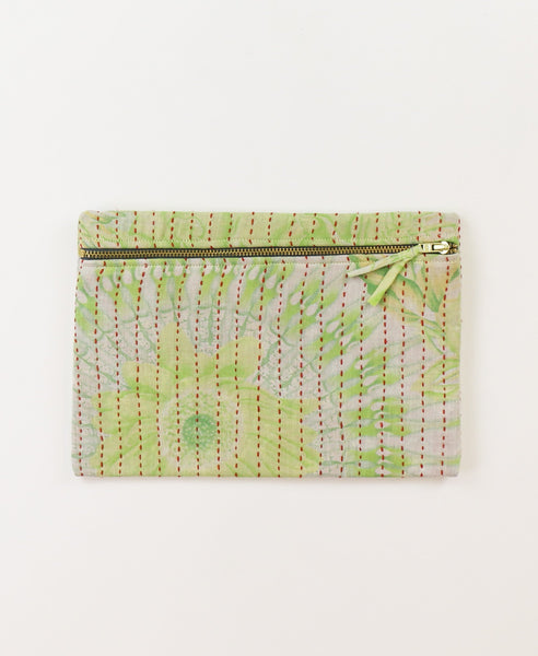 Small Kantha Pouch - Lime Sunburst | Anchal Project