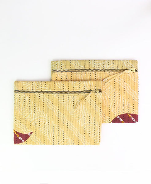 Small Kantha Pouch - Maroon Waves