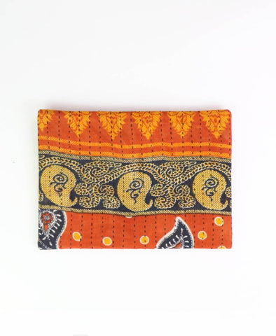 Small Kantha Pouch - Navy Paisley | Anchal Project