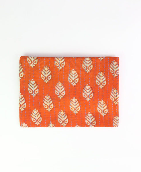 Small Kantha Pouch - Orange Fern | Anchal Project