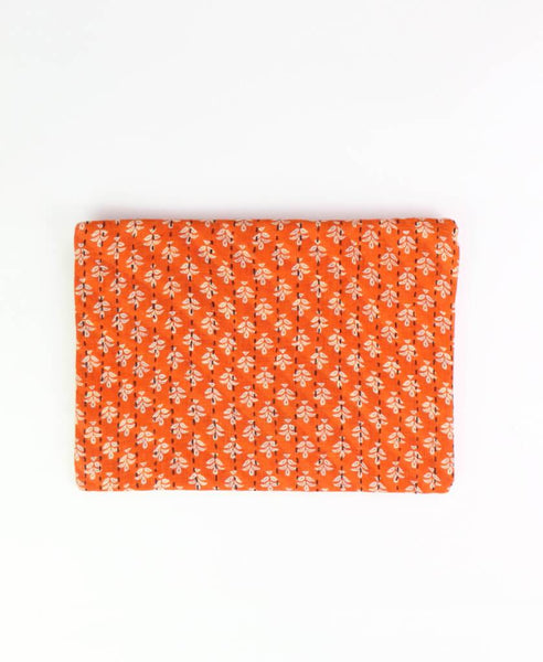 Small Kantha Pouch - Orange Sprouts | Anchal Project