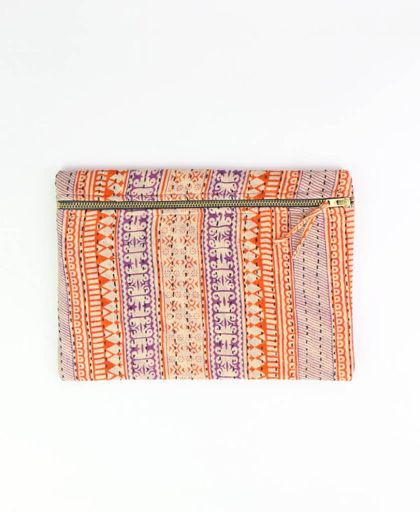 Small Kantha Pouch - Orange Purple Stripes | Anchal Project