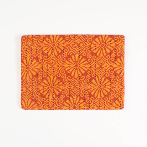Small Kantha Pouch - Orange Sunburst
