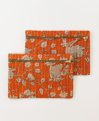 Small Kantha Pouch - Orange Temple | Anchal Project