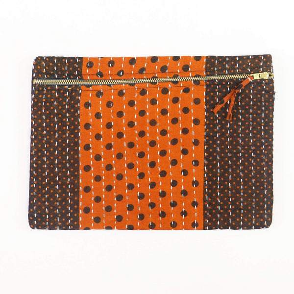 Small Kantha Pouch - Orange and Brown Dots | Anchal Project