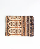 Small Kantha Pouch - Orange and Brown Floral Stripe